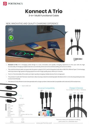 Portronics Konnect A Trio - 3-in-1 Multi Functional Cable