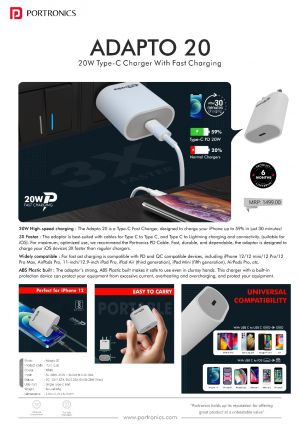 Portronics Adapto 20-20W Type-C charger with fast charging