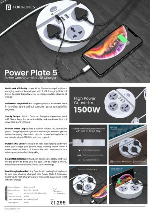 Portronics Power Plate - Power Converter with USB charger