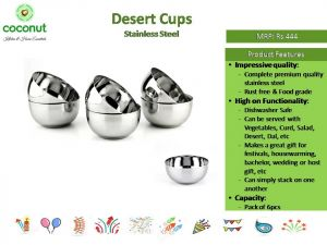 Coconut Desert Stainless Steel Cups (Set of 6)