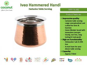 Coconut Iveo Hammered Handi Exclusive Table Serving
