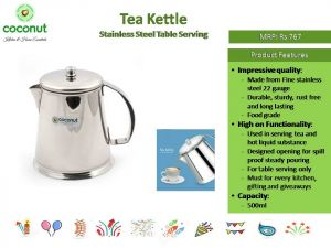 Coconut Tea Kettle Stainless Steel Table Serving