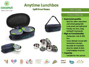 Coconut Anytime Lunchbox Spill Proof Boxes