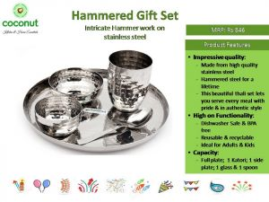 Coconut Hammered Gift Set Intricate Hammer Work on Stainless Steel
