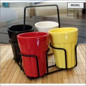 Holi-Cutting Chai Cups WithCoasters-ST7