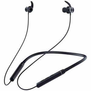 Ambrane Melody 11 Wireless Bluetooth Earphones with Deep Bass, Long Battery Life, Magnetic Clasps and Ear Hooks for Comfort Your Ears (Black)