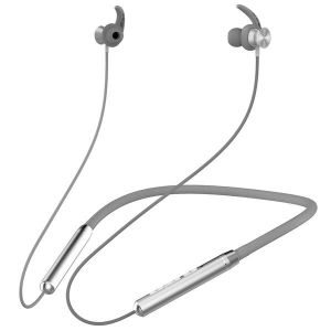 Ambrane Melody 11 Wireless Bluetooth Earphones with Deep Bass, Long Battery Life, Magnetic Clasps and Ear Hooks for Comfort Your Ears (Silver)