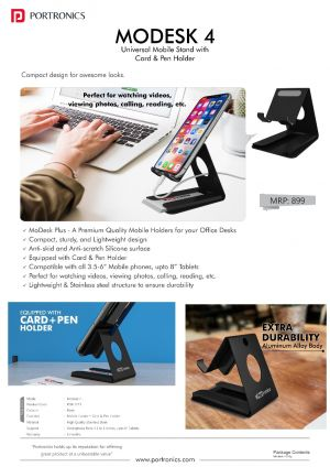 Portronics Modesk 4-Universal Mobile Phone Stand with Card & Pen Holder