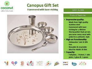 Coconut Canopus Gift Set Hammered with Laser Etching