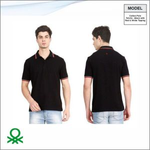Benetton Cotton Polo Black With Tipping-BL