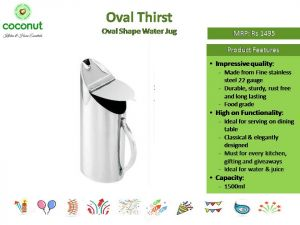 Coconut Oval Thrist Water Jug
