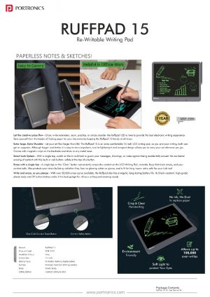 Portronics Ruffpad 15-Re-Writable LCD Writing Pad with Content Safety Button