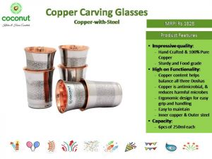 Coconut Copper with Steel Carving Glasses (Set of 6Pcs)