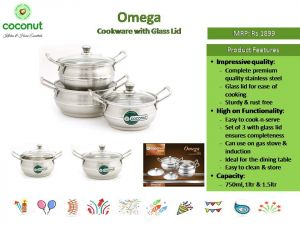 Coconut Omega Cookware with Glass Lid