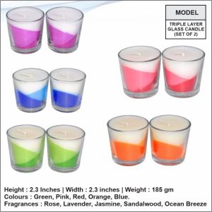 Triple Layered Glass Candle (Set of two)- 2