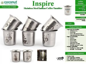 Coconut Inspire Stainless Steel Indian Coffee Tumbler (Set of 6)