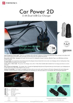 Portronics Car Power 2D-2.4A Car Charger with Dual USB Ports