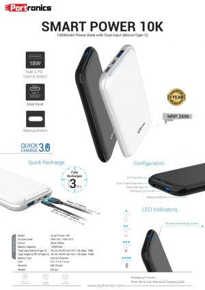 Portronics Smart Power 10K-10000mAh Power Bank with 18W Fast Charging Type-C