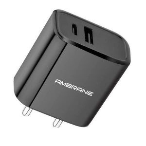 Ambrane ACP-29 Quick Charge 3.0 + PD (Type C) Charger Wall Charger (Black)
