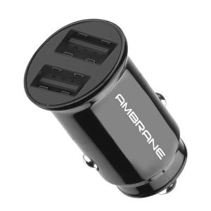Ambrane ACC-56 Car Charger With Rapid Charging of 12 Watt / 2.4A via Dual USB Ports (Black)