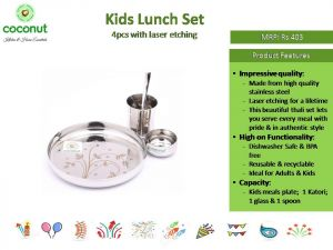 Coconut Kids Lunch Set 4pcs with Laser Etching