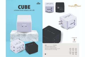 Cube - Worldwide Travel Adapter with 2usb (2100ma) & case