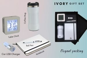 GM Ivory Gift Set (Set of 5) - Pen, Notebook, Coffee Mug, Table Clock & USB Car Charger