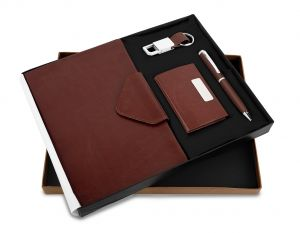 Montage Brown Flap 35 (4 in 1) - Pen,Diary, Card Holder & Keychain