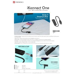 Portronics iKonnect One-2-in-1 8Pin to AUX & 8Pin Connector