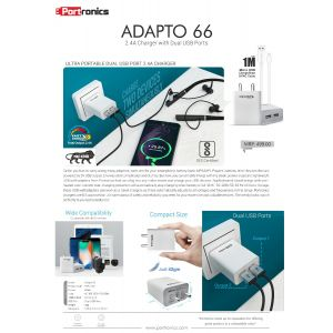 Portronics ADAPTO 66-2.4A Charger with Dual USB Ports