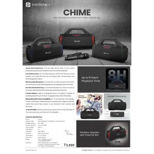 Portronics Chime,BLUETHOOTH SPEAKER with wired karoake mic.