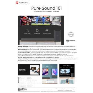 Portronics Pure Sound 101- Soundbar with Wired Subwoofer, Bluetooth, and HDMI