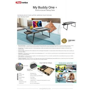 Portronics My Buddy One plus-Portable Laptop Stand