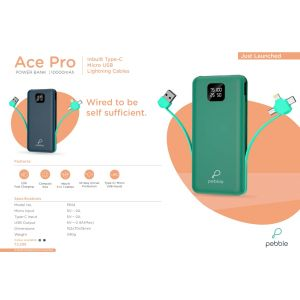 PEBBLE-ACE PRO POWER BANK 10000 MAH IN-Built TypeC Micro USB Lightning cables