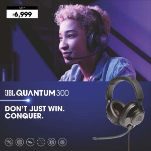 JBL-Quantum 300-Hybrid Wired Over-Ear Gaming Headset with QuantumSurround & Flip-up Mic