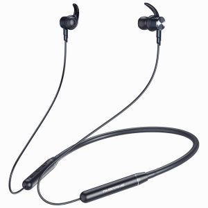 Ambrane Melody 20 Wireless Bluetooth Earphones with High-Quality Sound, Long Playtime, Magnetic Clasps and In-Line Mic For Calling (Black)