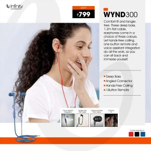 JBL-Wynd 300-in-Ear Immersive Bass Tangle Free Flat Cable Headphones with Mic