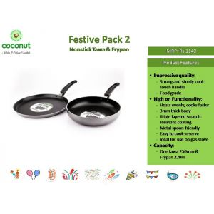 Coconut Pack 2 Nonstick Tawa and Fry Pan