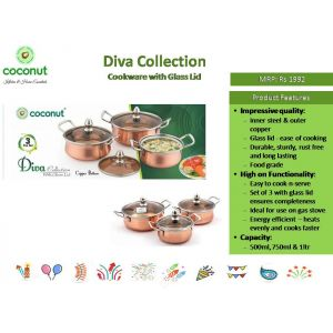 Coconut Diva Collection Cookware with Glass Lid
