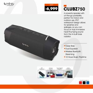 JBL-Clubz 750-Dual EQ Deep Bass 20W Portable Stereo Speaker with 10 Hours Playtime, Built-in Powerbank, Bluetooth 5.0 and IPX7 Waterproof