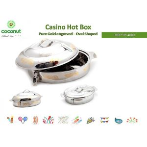 Coconut Casino Hot Box Pure Gold Engraved-Oval Shaped