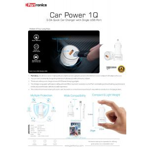 Portronics Car Power 1Q-3.0A Quick Car Charger with Single USB Port