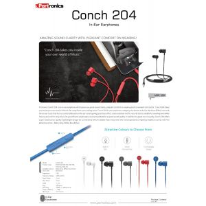 Portronics Conch 204-Wired Earphone with Mic