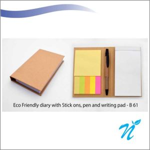 ECO FRIENDLY DIARY WITH STICK ONS, PEN AND WRITING PAD- NIBGB - 61