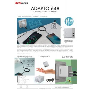 Portronics ADAPTO 648-2.4A Charger with Dual USB Ports