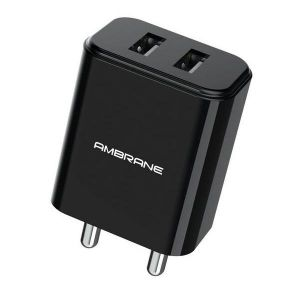 Ambrane AWC-74 Dual USB Port Wall Charger with Quick Charger Enabled 3.0 (Black)