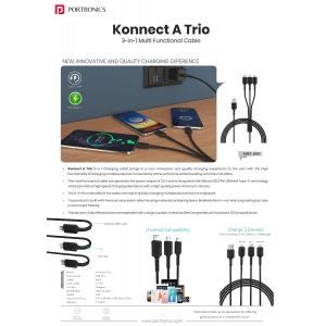 Portronics Konnect A11 Trio-3-in-1 Multi-Functional Cable