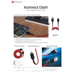 Portronics Konnect Dash-Konnect Dash is 1m Type C with 5.0 output with PVC heads for maximum protection