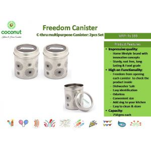 Coconut Freedom Canister C-Thru Canister (Set of 2)